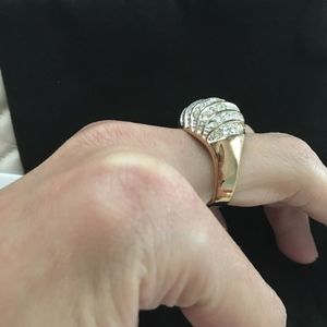 Vintage Jewelry - Large CZ Gold plate statement ring